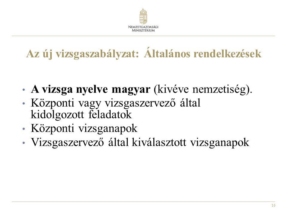 16 Az új vizsgaszabályzat: Általános rendelkezések • A vizsga nyelve magyar (kivéve nemzetiség). • Központi vagy vizsgaszervező által kidolgozott fela