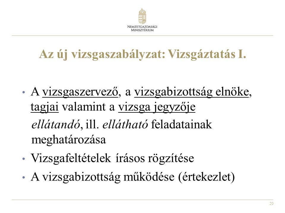 20 Az új vizsgaszabályzat: Vizsgáztatás I. • A vizsgaszervező, a vizsgabizottság elnöke, tagjai valamint a vizsga jegyzője ellátandó, ill. ellátható f