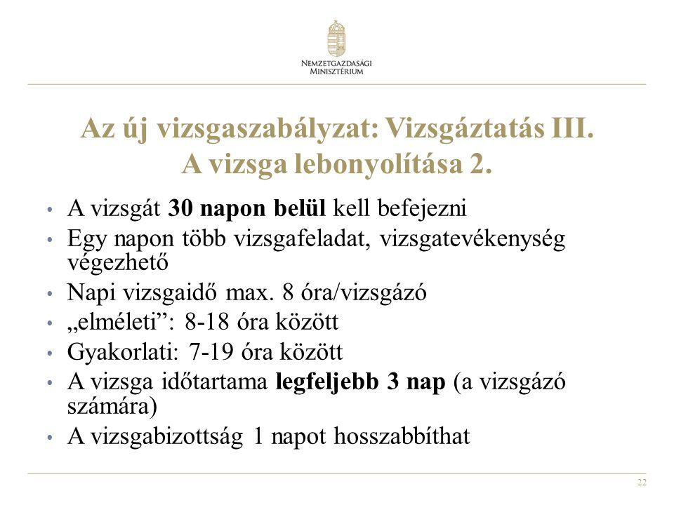 22 Az új vizsgaszabályzat: Vizsgáztatás III. A vizsga lebonyolítása 2. • A vizsgát 30 napon belül kell befejezni • Egy napon több vizsgafeladat, vizsg