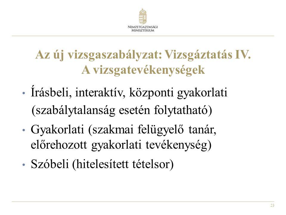 23 Az új vizsgaszabályzat: Vizsgáztatás IV. A vizsgatevékenységek • Írásbeli, interaktív, központi gyakorlati (szabálytalanság esetén folytatható) • G