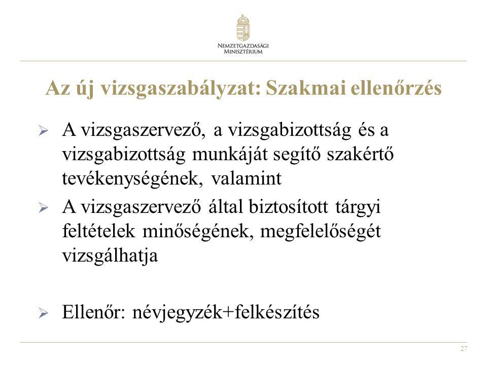 27 Az új vizsgaszabályzat: Szakmai ellenőrzés  A vizsgaszervező, a vizsgabizottság és a vizsgabizottság munkáját segítő szakértő tevékenységének, val