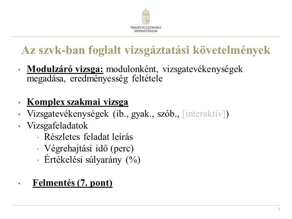 6 Az szvk-kban meghatározott vizsgaidőtartamok IV.