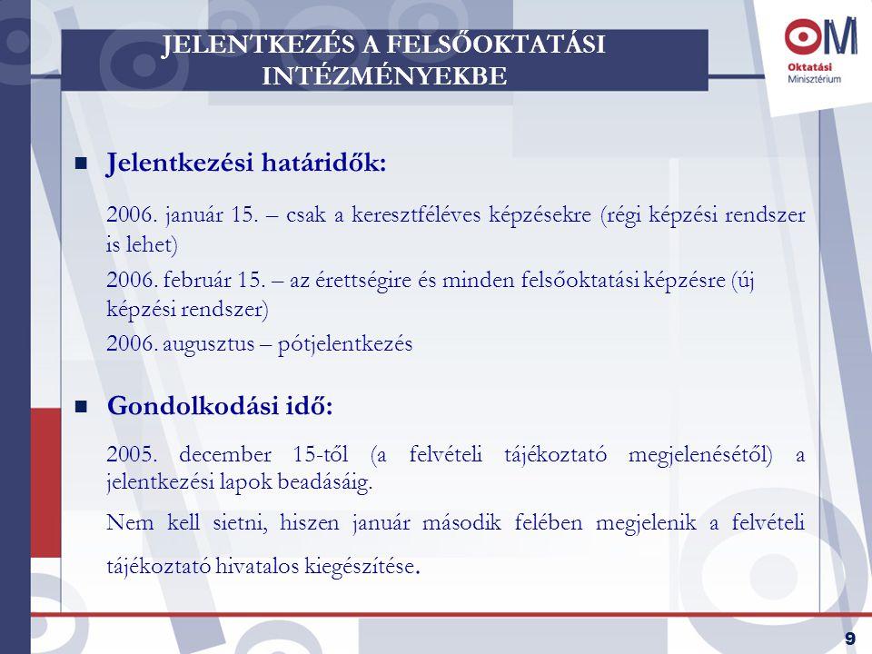 9 JELENTKEZÉS A FELSŐOKTATÁSI INTÉZMÉNYEKBE n Jelentkezési határidők: 2006.