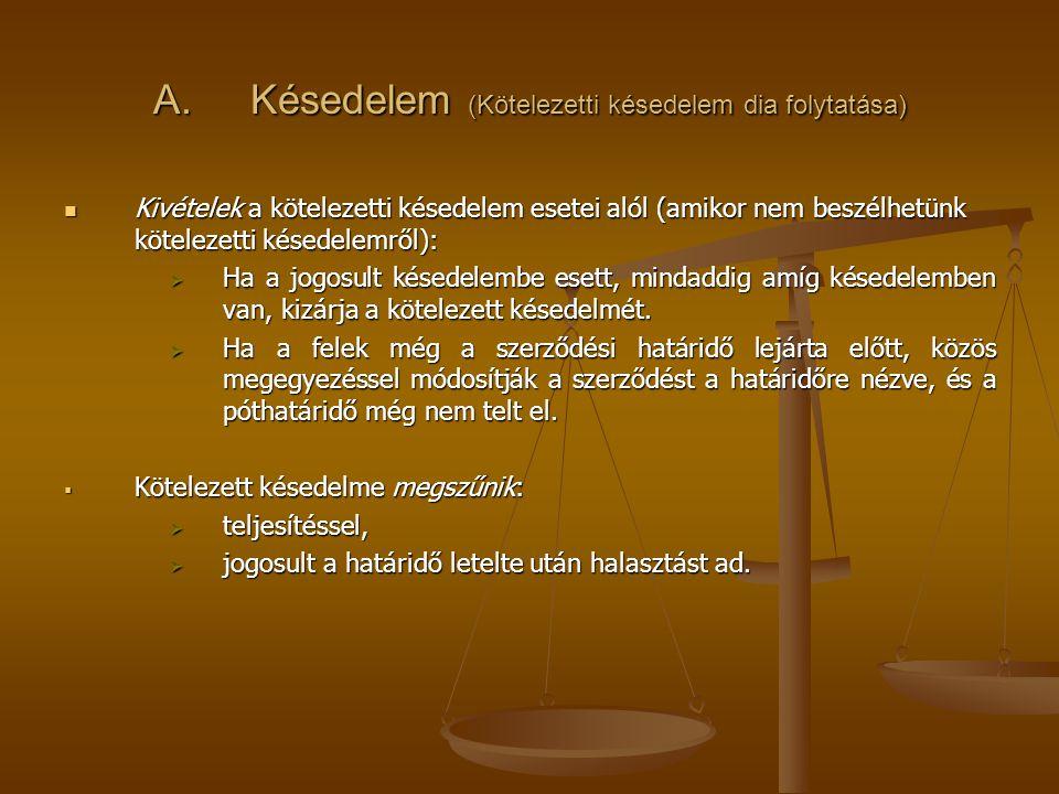 A.Késedelem. A kötelezetti késedelem jogkövetkezményei a) Szubjektív jogkövetkezmények: 1.