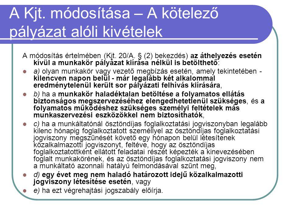 A Kjt. módosítása – A kötelező pályázat alóli kivételek A módosítás értelmében (Kjt. 20/A. § (2) bekezdés) az áthelyezés esetén kívül a munkakör pályá