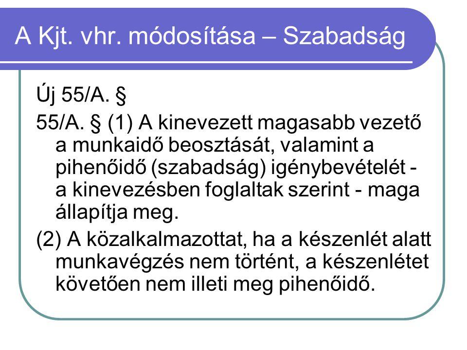 A Kjt. vhr. módosítása – Szabadság Új 55/A. § 55/A. § (1) A kinevezett magasabb vezető a munkaidő beosztását, valamint a pihenőidő (szabadság) igénybe