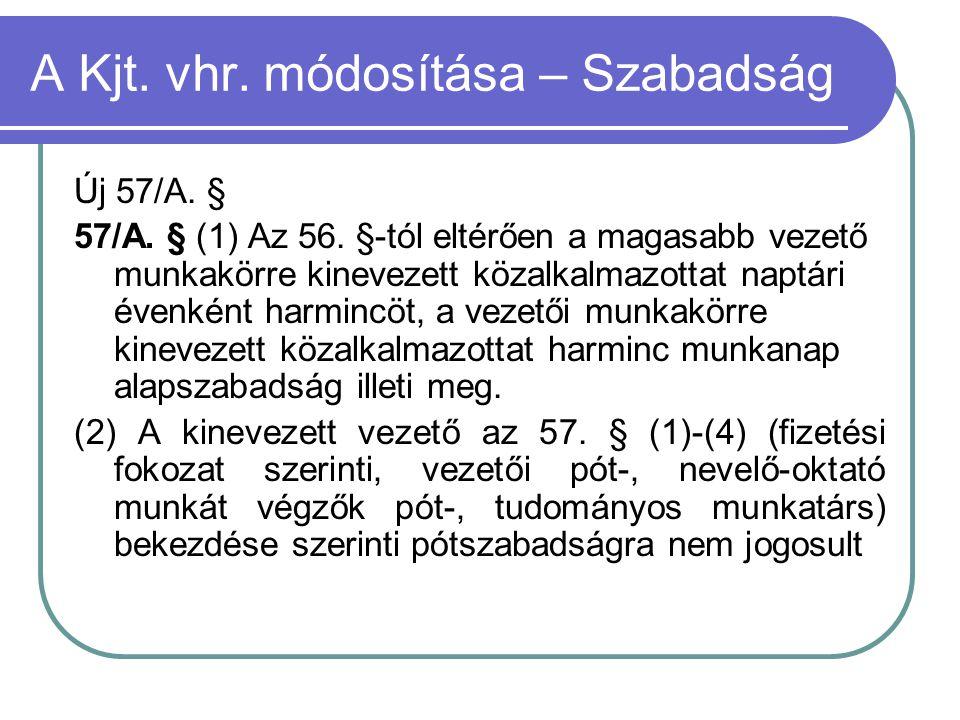 A Kjt. vhr. módosítása – Szabadság Új 57/A. § 57/A. § (1) Az 56. §-tól eltérően a magasabb vezető munkakörre kinevezett közalkalmazottat naptári évenk