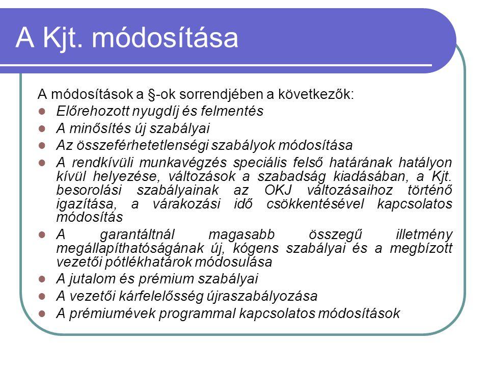 A Kjt. módosítása A módosítások a §-ok sorrendjében a következők:  Előrehozott nyugdíj és felmentés  A minősítés új szabályai  Az összeférhetetlens