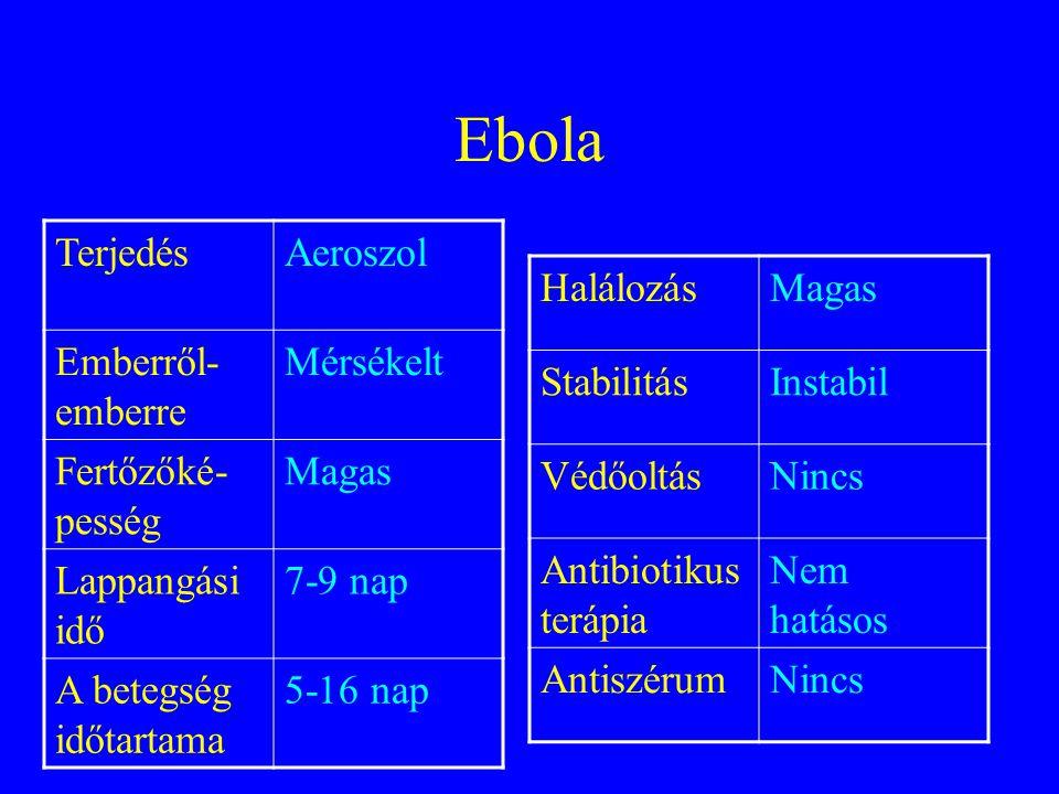 Kolera TerjedésÉtel, Aeroszol Emberről- emberre Nem Fertőzőké- pesség Alacsony Lappangási idő 1-5 nap A betegség időtartama 1-X hét HalálozásMérsékelt- Magas StabilitásAlacsony VédőoltásIgen Antibiotikus terápia Mérsékelt Hatású AntiszérumNincs