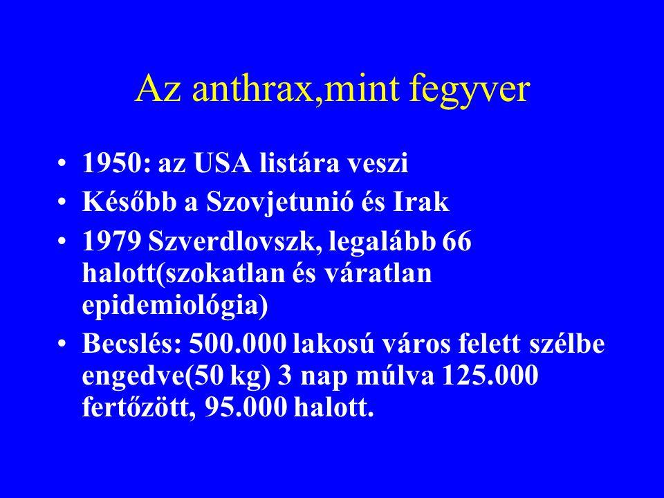 Anthrax(Lépfene) •1876-ban a vezető halálok •1881-ben immunizáció •1979 októbertől 1980 márciusáig Zimbabwében több mint 6000 fő (bőr) •1987-ben Paraguayban 25 fő (bőr)