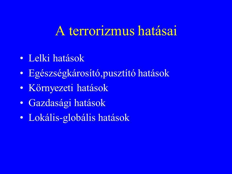 A terrorizmus céljai •Nyomásgyakorlás a hatalomra •Zavarkeltés a lakosság körében •Újabb terrortámadás (consumptios elmélet) •Kormányok destabilizálás