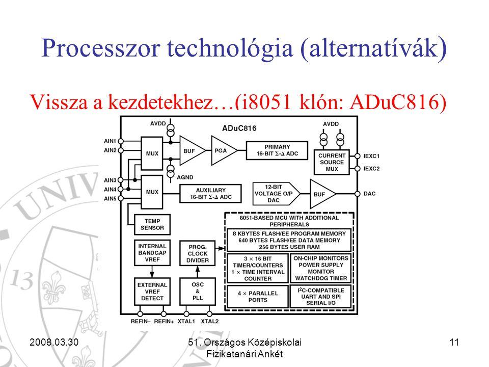 2008.03.3051. Országos Középiskolai Fizikatanári Ankét 11 Processzor technológia (alternatívák ) Vissza a kezdetekhez…(i8051 klón: ADuC816)