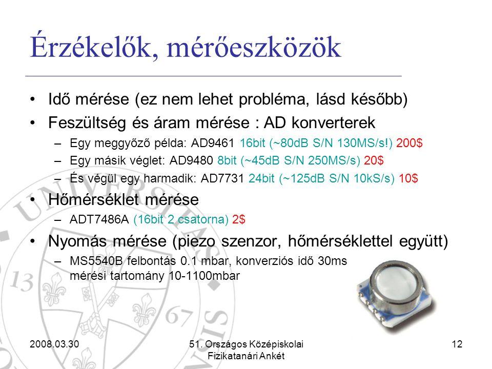 2008.03.3051. Országos Középiskolai Fizikatanári Ankét 12 Érzékelők, mérőeszközök •Idő mérése (ez nem lehet probléma, lásd később) •Feszültség és áram
