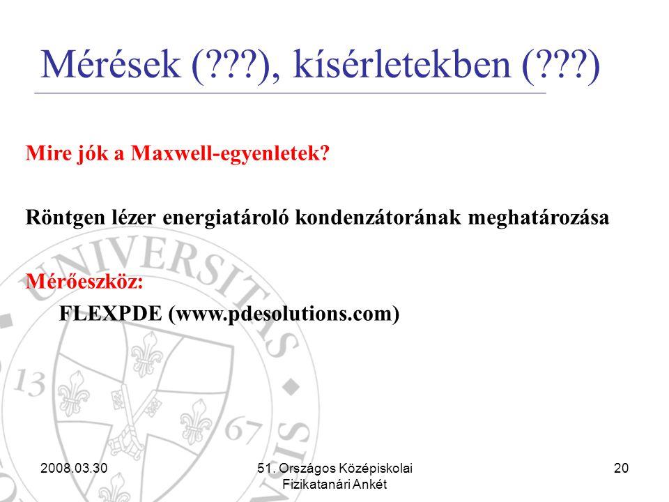 2008.03.3051. Országos Középiskolai Fizikatanári Ankét 20 Mérések (???), kísérletekben (???) Mire jók a Maxwell-egyenletek? Röntgen lézer energiatárol