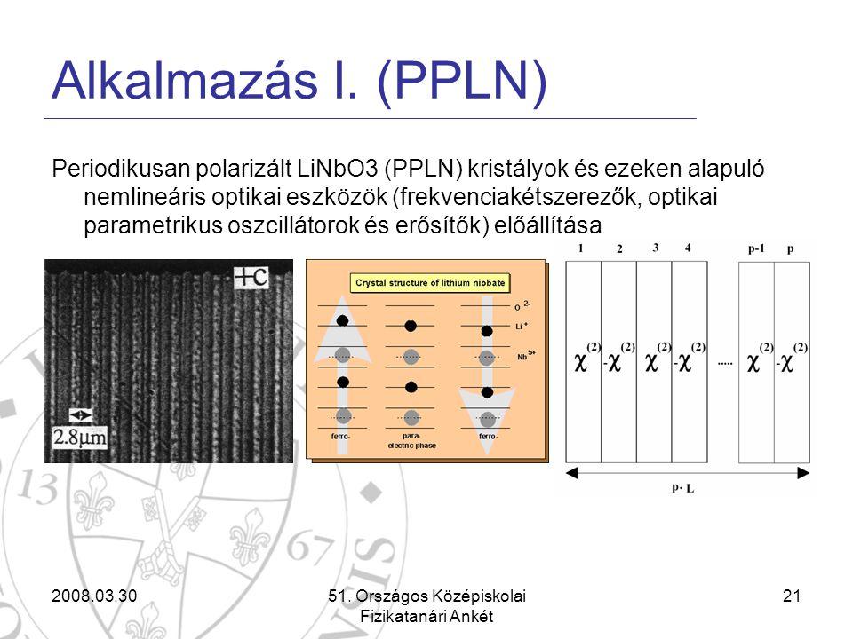2008.03.3051. Országos Középiskolai Fizikatanári Ankét 21 Alkalmazás I. (PPLN) Periodikusan polarizált LiNbO3 (PPLN) kristályok és ezeken alapuló neml