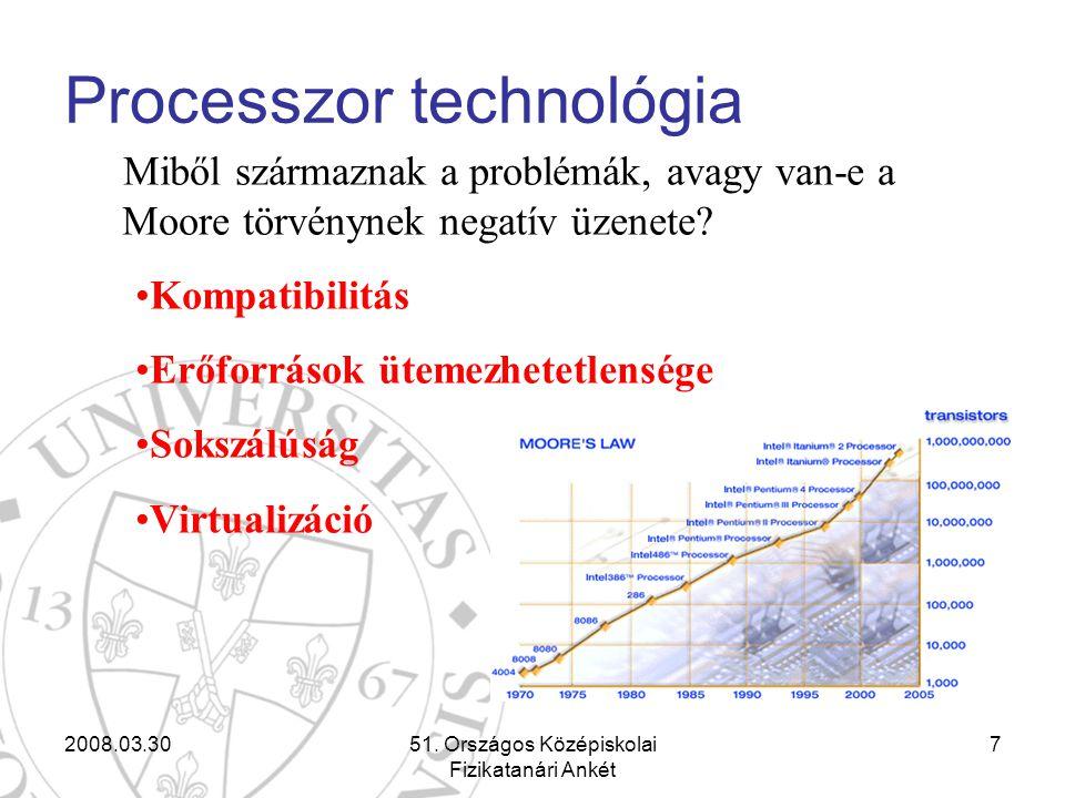 2008.03.3051. Országos Középiskolai Fizikatanári Ankét 7 Processzor technológia Miből származnak a problémák, avagy van-e a Moore törvénynek negatív ü