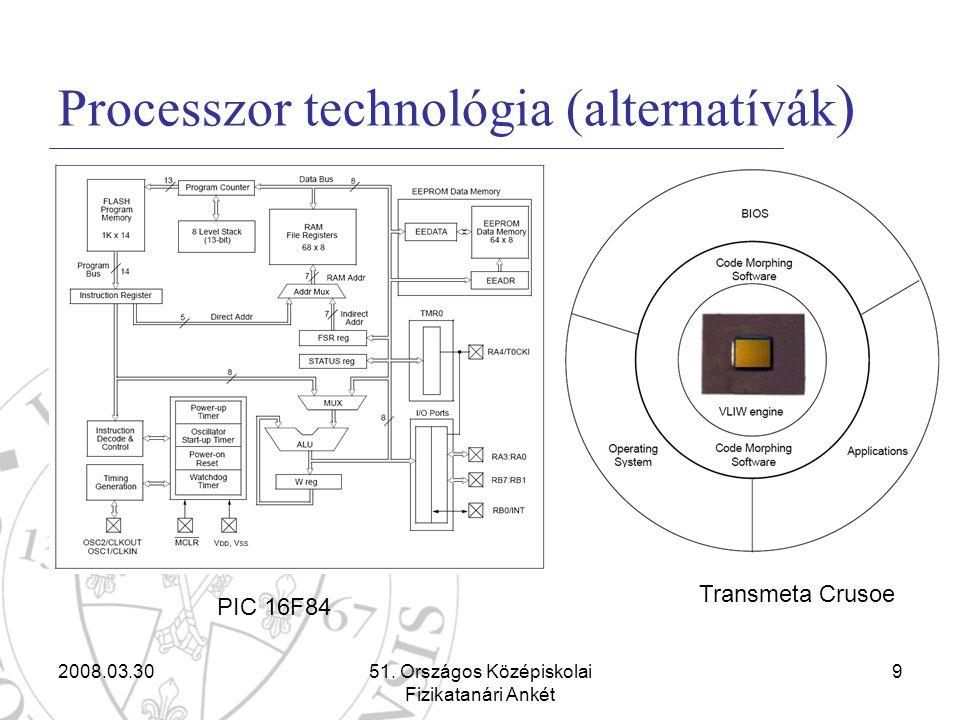 2008.03.3051. Országos Középiskolai Fizikatanári Ankét 9 Processzor technológia (alternatívák ) Transmeta Crusoe PIC 16F84