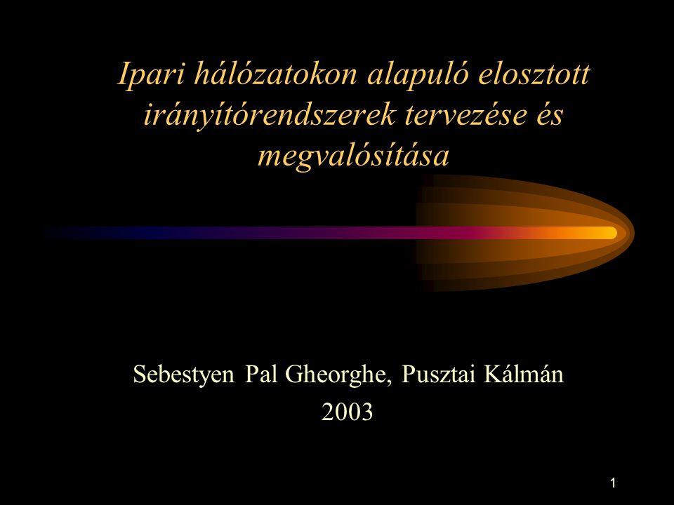 1 Ipari hálózatokon alapuló elosztott irányítórendszerek tervezése és megvalósítása Sebestyen Pal Gheorghe, Pusztai Kálmán 2003