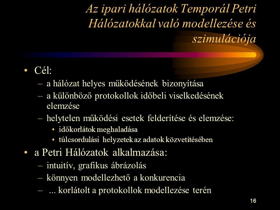 16 Az ipari hálózatok Temporál Petri Hálózatokkal való modellezése és szimulációja •Cél: –a hálózat helyes működésének bizonyítása –a különböző protok