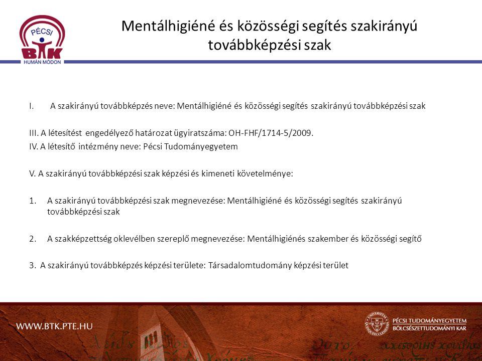 Mentálhigiéné és közösségi segítés szakirányú továbbképzési szak I.A szakirányú továbbképzés neve: Mentálhigiéné és közösségi segítés szakirányú továb