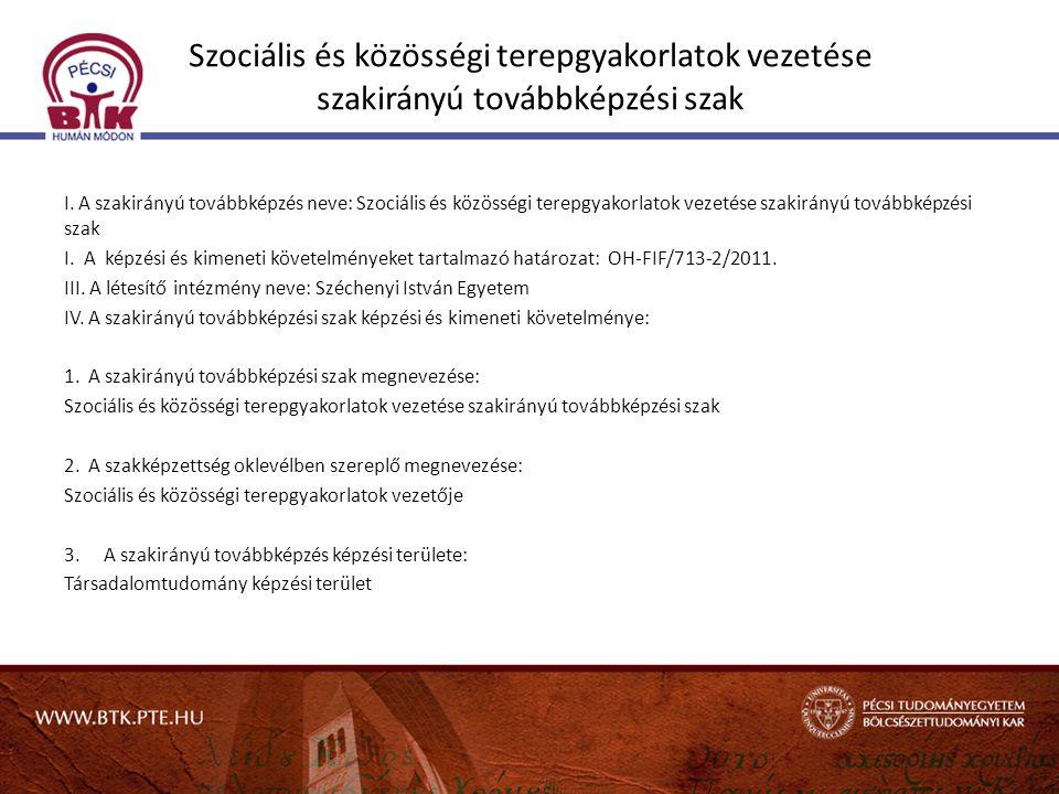 Szociális és közösségi terepgyakorlatok vezetése szakirányú továbbképzési szak I. A szakirányú továbbképzés neve: Szociális és közösségi terepgyakorla