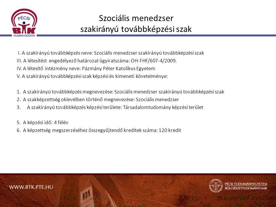 Szociális menedzser szakirányú továbbképzési szak I. A szakirányú továbbképzés neve: Szociális menedzser szakirányú továbbképzési szak III. A létesíté