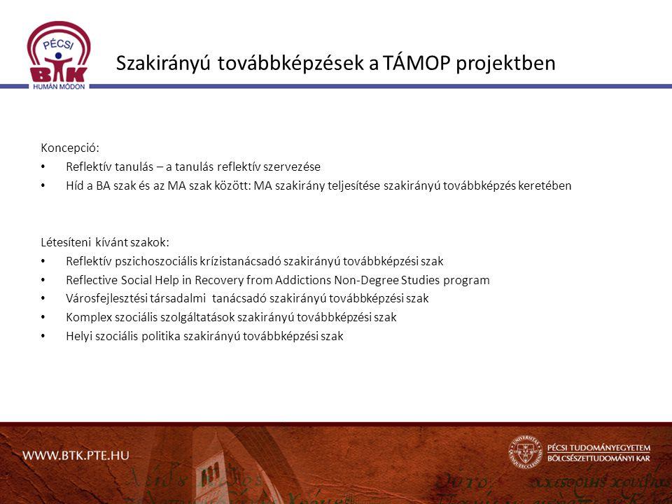 Szakirányú továbbképzések a TÁMOP projektben Koncepció: • Reflektív tanulás – a tanulás reflektív szervezése • Híd a BA szak és az MA szak között: MA