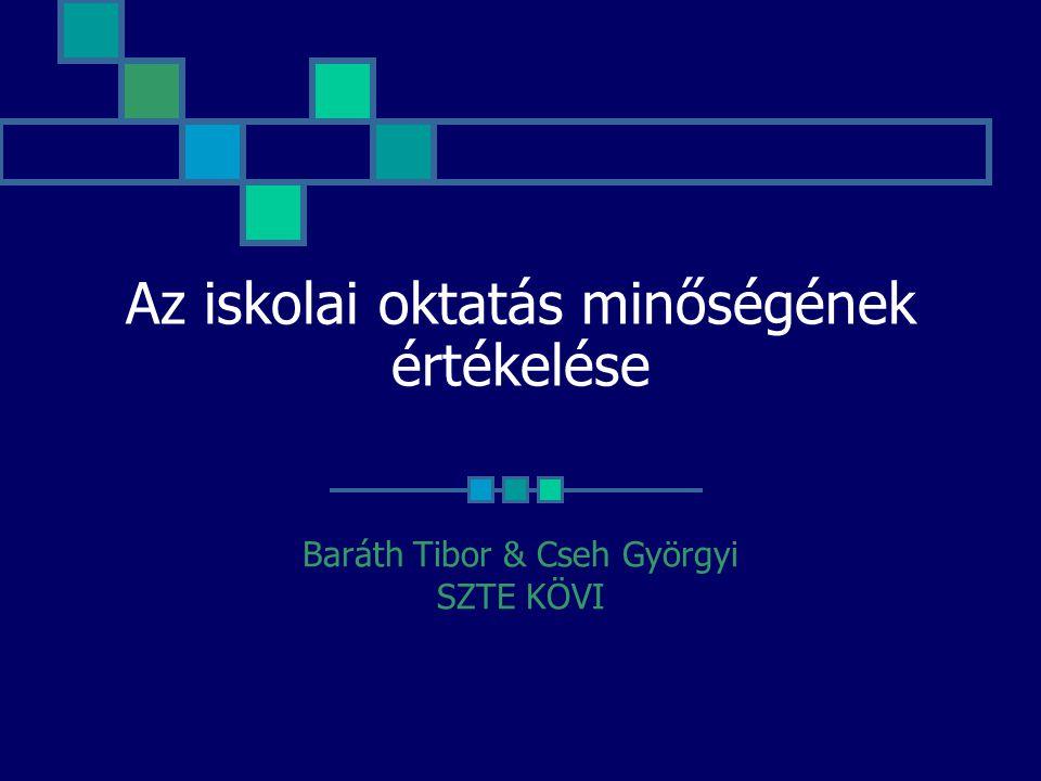 Az iskolai oktatás minőségének értékelése Baráth Tibor & Cseh Györgyi SZTE KÖVI