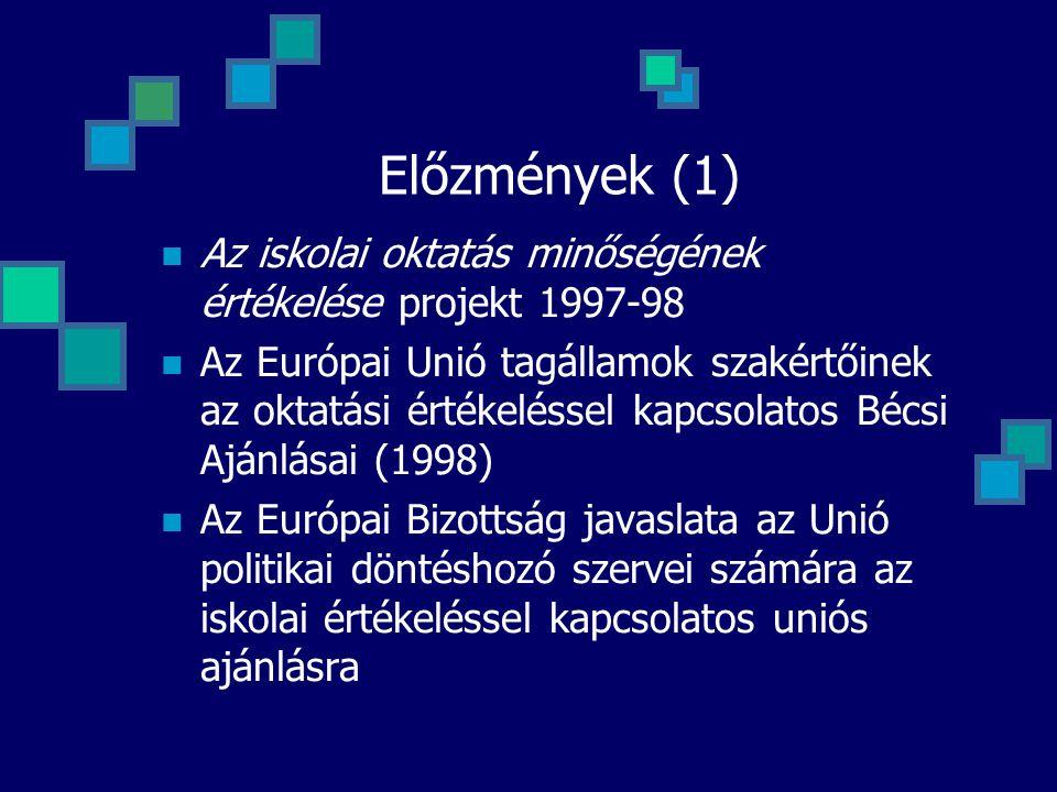 Előzmények (1)  Az iskolai oktatás minőségének értékelése projekt 1997-98  Az Európai Unió tagállamok szakértőinek az oktatási értékeléssel kapcsola
