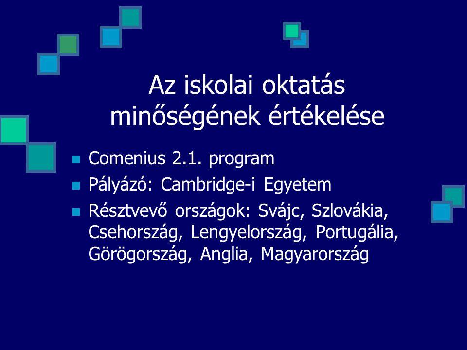 Az iskolai oktatás minőségének értékelése  Comenius 2.1. program  Pályázó: Cambridge-i Egyetem  Résztvevő országok: Svájc, Szlovákia, Csehország, L