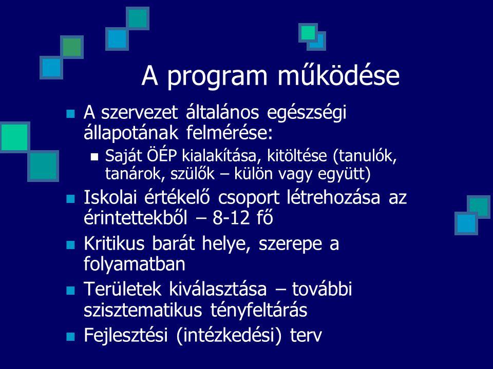 A program működése  A szervezet általános egészségi állapotának felmérése:  Saját ÖÉP kialakítása, kitöltése (tanulók, tanárok, szülők – külön vagy