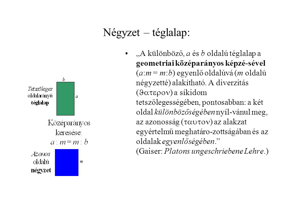 """Négyzet – téglalap: •""""A különböző, a és b oldalú téglalap a geometriai középarányos képzé-sével (a:m = m:b) egyenlő oldalúvá (m oldalú négyzetté) alakítható."""