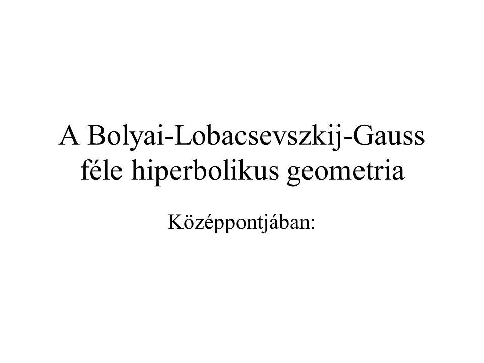 A Bolyai-Lobacsevszkij-Gauss féle hiperbolikus geometria Középpontjában: