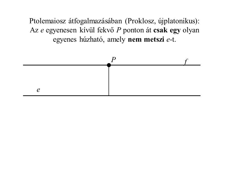 Ptolemaiosz átfogalmazásában (Proklosz, újplatonikus): Az e egyenesen kívül fekvő P ponton át csak egy olyan egyenes húzható, amely nem metszi e-t.