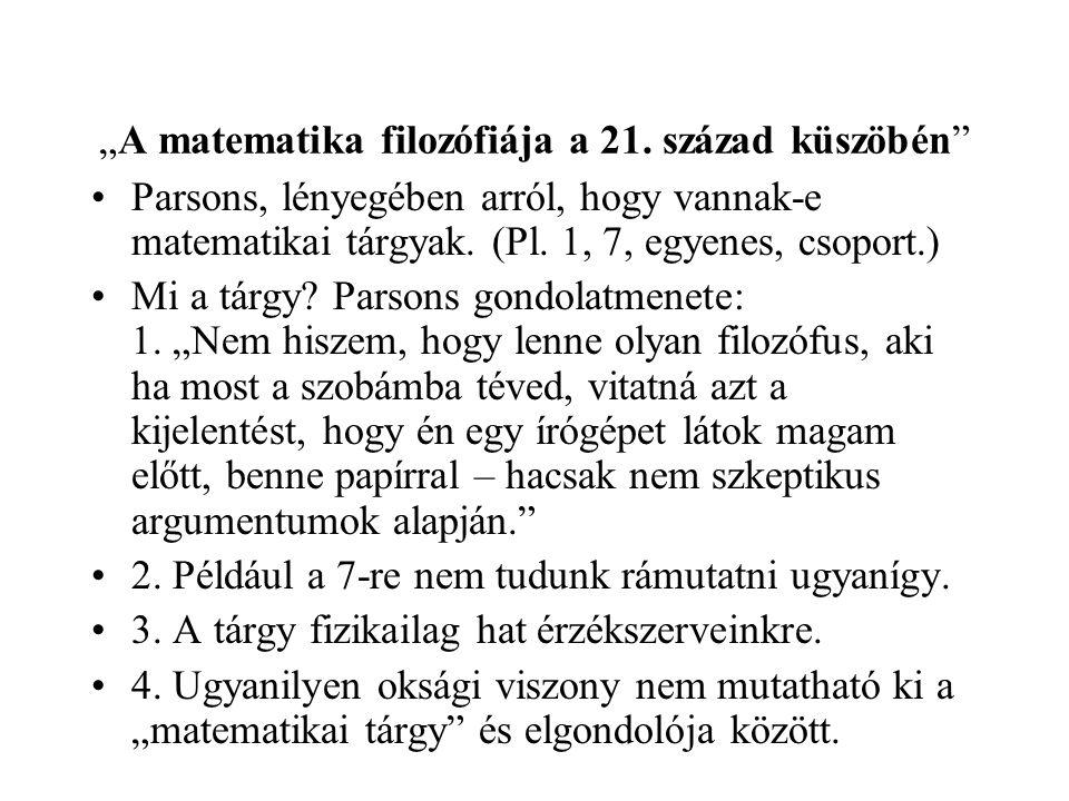 """""""A matematika filozófiája a 21."""