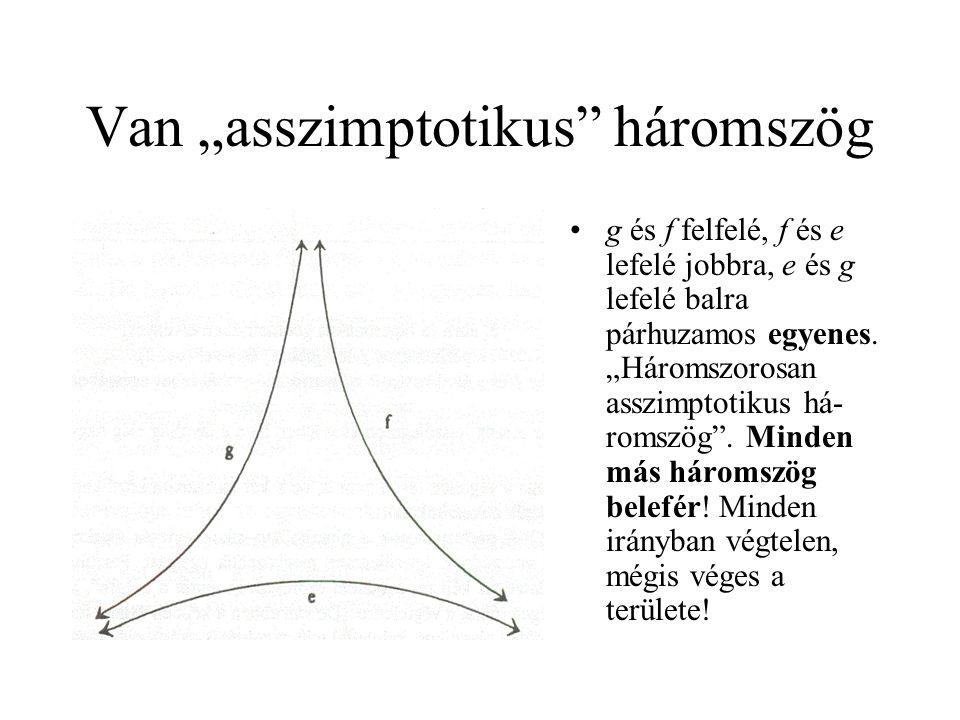 """Van """"asszimptotikus"""" háromszög •g és f felfelé, f és e lefelé jobbra, e és g lefelé balra párhuzamos egyenes. """"Háromszorosan asszimptotikus há- romszö"""