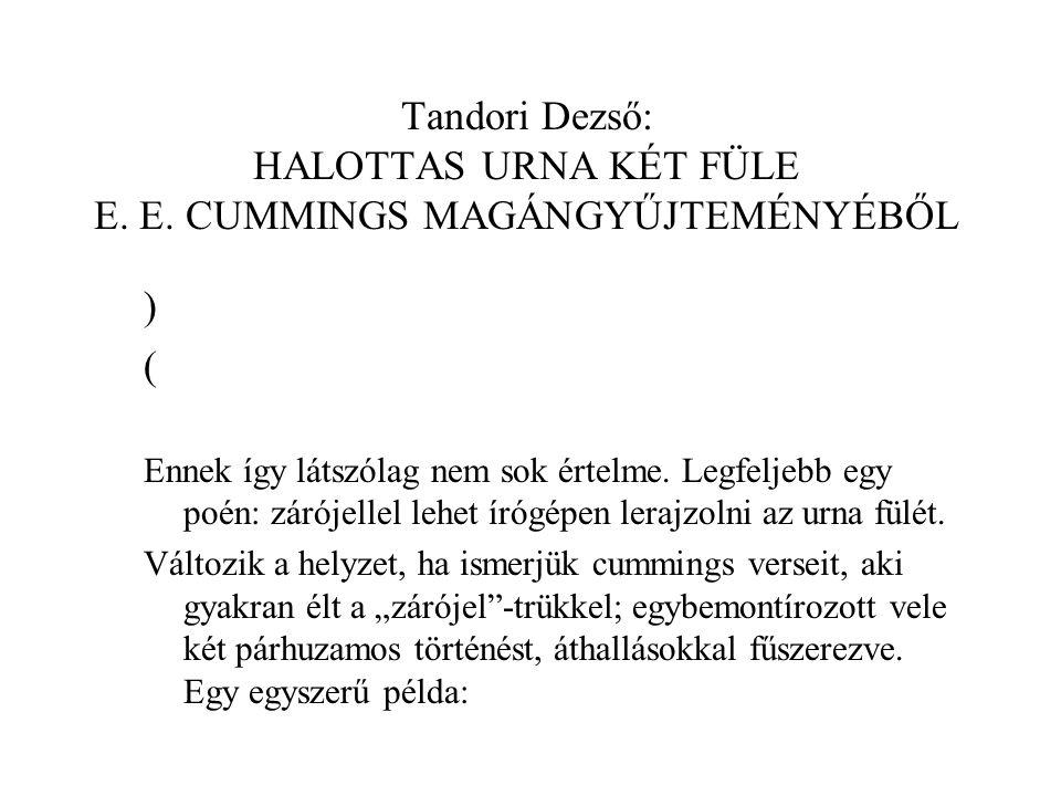 Tandori Dezső: HALOTTAS URNA KÉT FÜLE E.E.