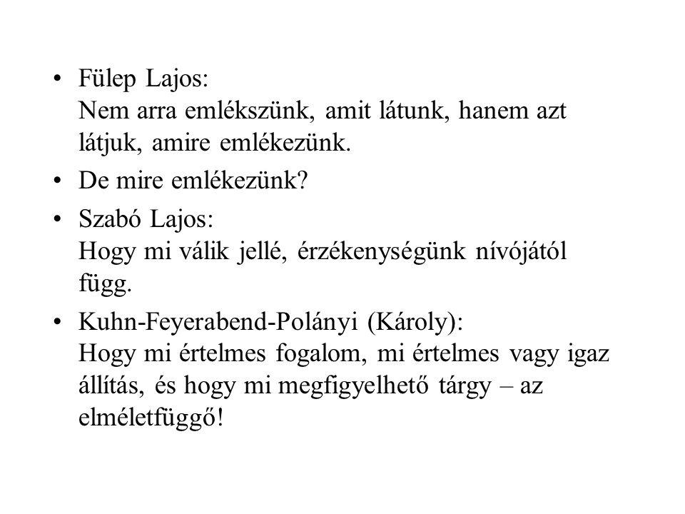 •Fülep Lajos: Nem arra emlékszünk, amit látunk, hanem azt látjuk, amire emlékezünk.