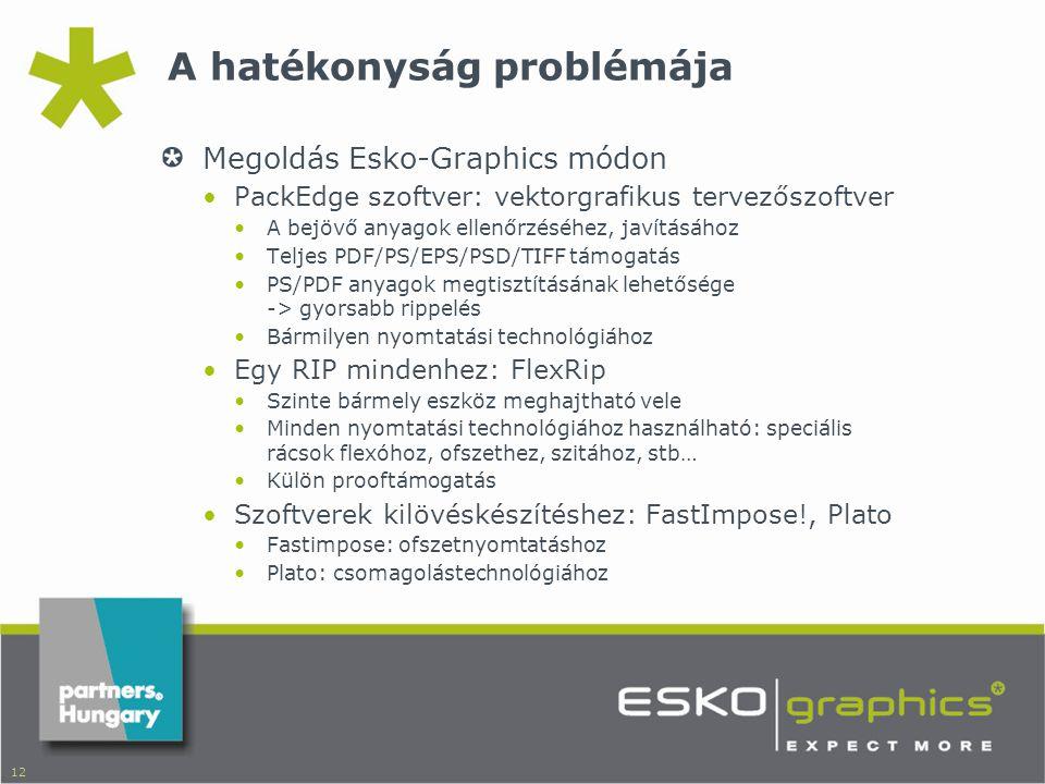 12 A hatékonyság problémája Megoldás Esko-Graphics módon •PackEdge szoftver: vektorgrafikus tervezőszoftver •A bejövő anyagok ellenőrzéséhez, javításához •Teljes PDF/PS/EPS/PSD/TIFF támogatás •PS/PDF anyagok megtisztításának lehetősége -> gyorsabb rippelés •Bármilyen nyomtatási technológiához •Egy RIP mindenhez: FlexRip •Szinte bármely eszköz meghajtható vele •Minden nyomtatási technológiához használható: speciális rácsok flexóhoz, ofszethez, szitához, stb… •Külön prooftámogatás •Szoftverek kilövéskészítéshez: FastImpose!, Plato •Fastimpose: ofszetnyomtatáshoz •Plato: csomagolástechnológiához