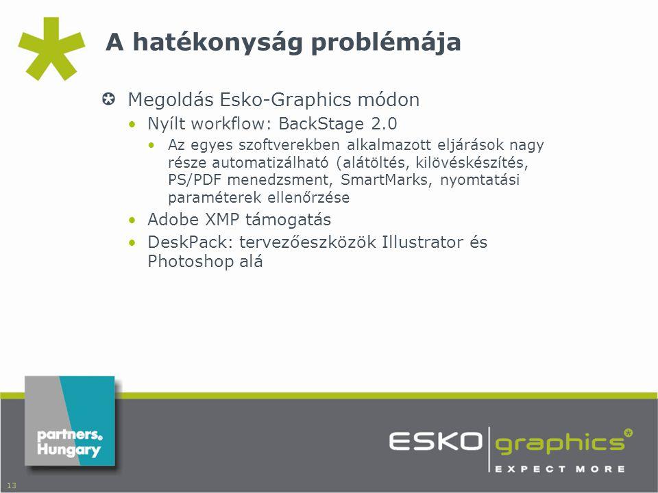 13 A hatékonyság problémája Megoldás Esko-Graphics módon •Nyílt workflow: BackStage 2.0 •Az egyes szoftverekben alkalmazott eljárások nagy része automatizálható (alátöltés, kilövéskészítés, PS/PDF menedzsment, SmartMarks, nyomtatási paraméterek ellenőrzése •Adobe XMP támogatás •DeskPack: tervezőeszközök Illustrator és Photoshop alá