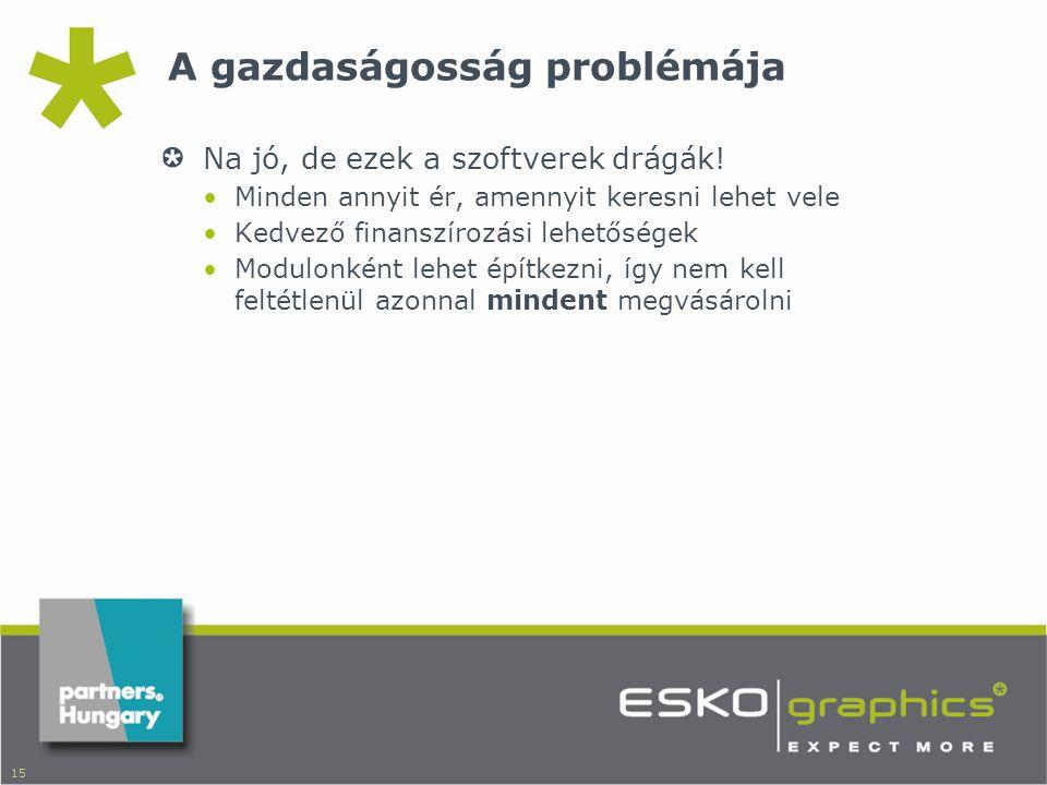 15 A gazdaságosság problémája Na jó, de ezek a szoftverek drágák.