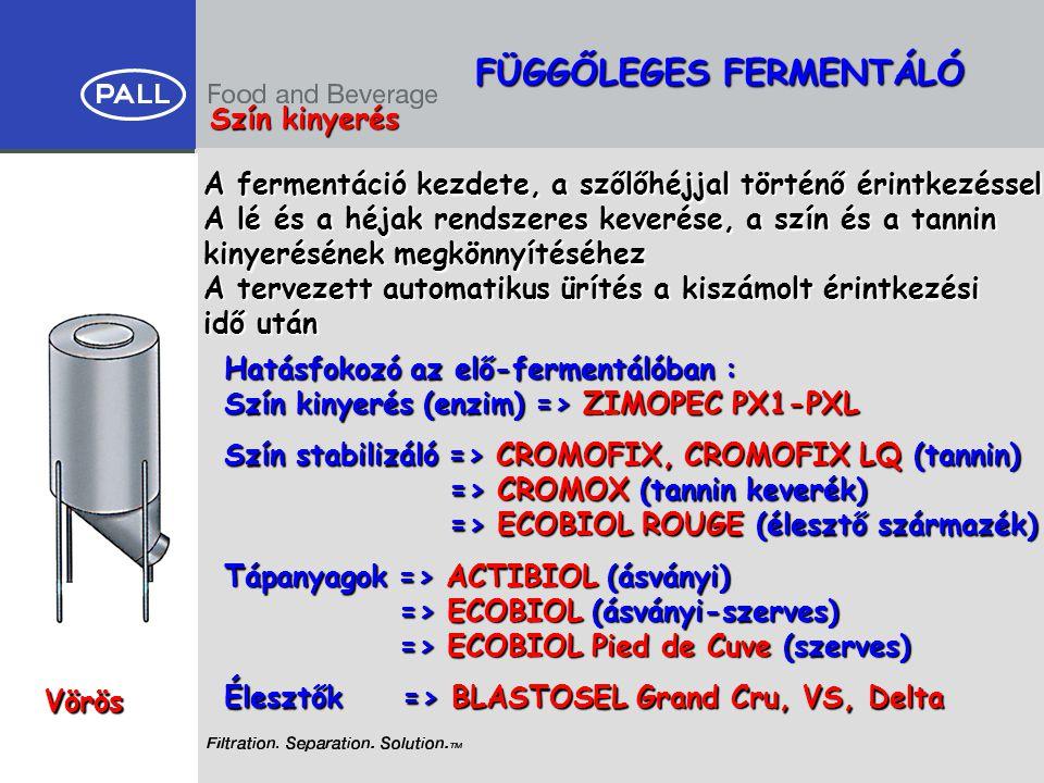 FÜGGŐLEGES FERMENTÁLÓ Vörös Szín kinyerés Hatásfokozó az elő-fermentálóban : Szín kinyerés (enzim) => ZIMOPEC PX1-PXL A fermentáció kezdete, a szőlőhé