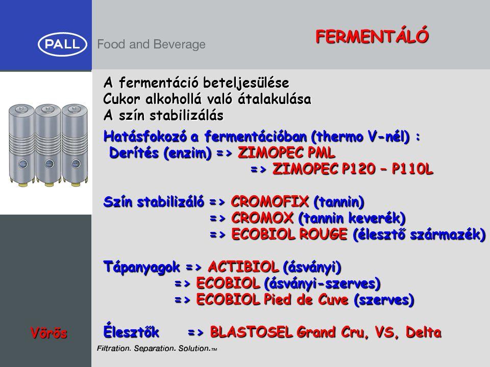 FERMENTÁLÓ Vörös A fermentáció beteljesülése Cukor alkohollá való átalakulása A szín stabilizálás Hatásfokozó a fermentációban (thermo V-nél) : Deríté