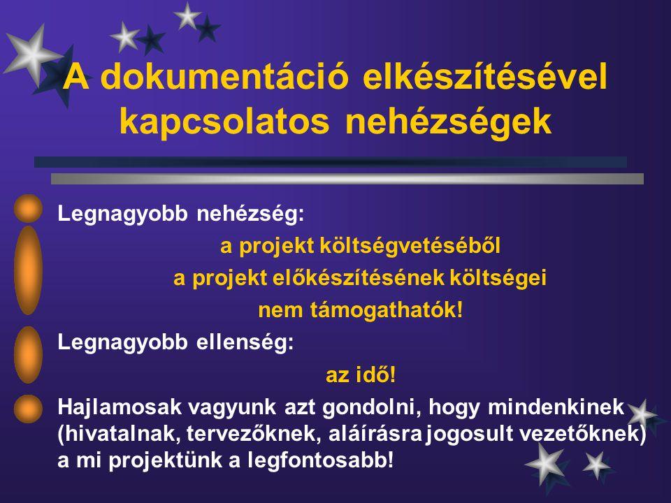 A dokumentáció elkészítésével kapcsolatos nehézségek Legnagyobb nehézség: a projekt költségvetéséből a projekt előkészítésének költségei nem támogathatók.