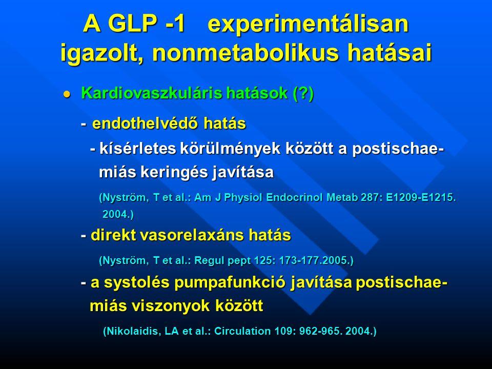 A GLP -1 experimentálisan igazolt, nonmetabolikus hatásai  Kardiovaszkuláris hatások (?) - endothelvédő hatás - endothelvédő hatás - kísérletes körülmények között a postischae- - kísérletes körülmények között a postischae- miás keringés javítása miás keringés javítása (Nyström, T et al.: Am J Physiol Endocrinol Metab 287: E1209-E1215.