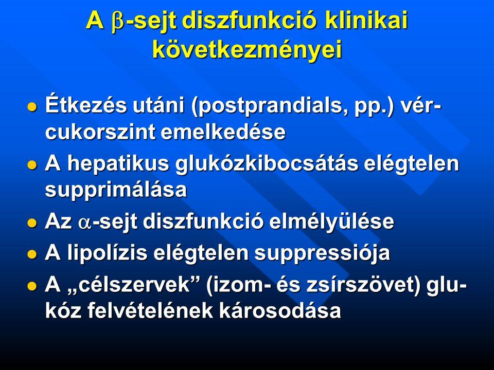 """A  -sejt diszfunkció klinikai következményei  Étkezés utáni (postprandials, pp.) vér- cukorszint emelkedése  A hepatikus glukózkibocsátás elégtelen supprimálása  Az  -sejt diszfunkció elmélyülése  A lipolízis elégtelen suppressiója  A """"célszervek (izom- és zsírszövet) glu- kóz felvételének károsodása"""