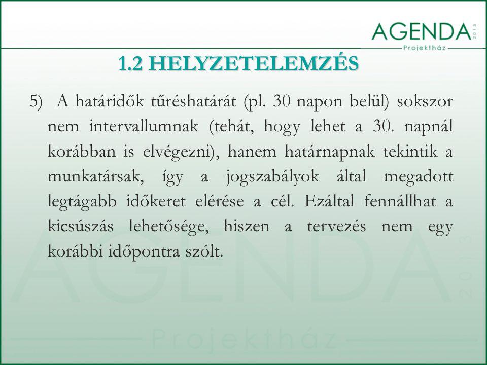 1.2 HELYZETELEMZÉS 5) A határidők tűréshatárát (pl.