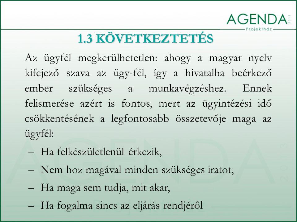 1.3 KÖVETKEZTETÉS Az ügyfél megkerülhetetlen: ahogy a magyar nyelv kifejező szava az ügy-fél, így a hivatalba beérkező ember szükséges a munkavégzéshez.