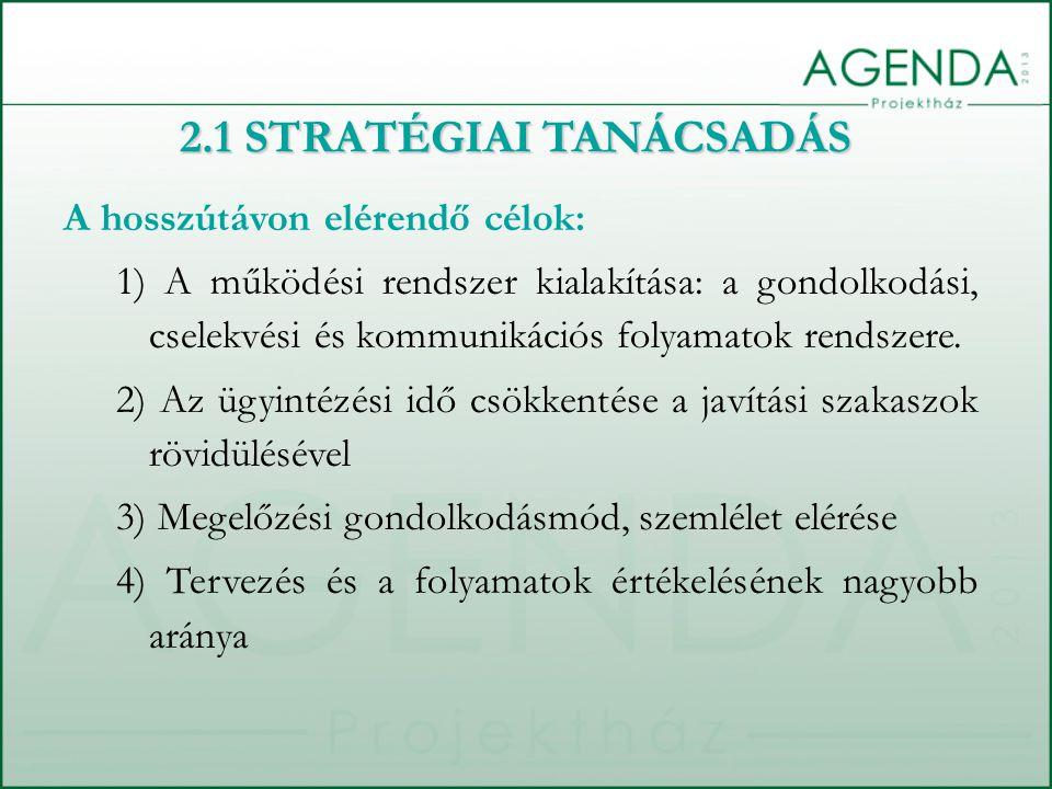 2.1 STRATÉGIAI TANÁCSADÁS A hosszútávon elérendő célok: 1) A működési rendszer kialakítása: a gondolkodási, cselekvési és kommunikációs folyamatok rendszere.