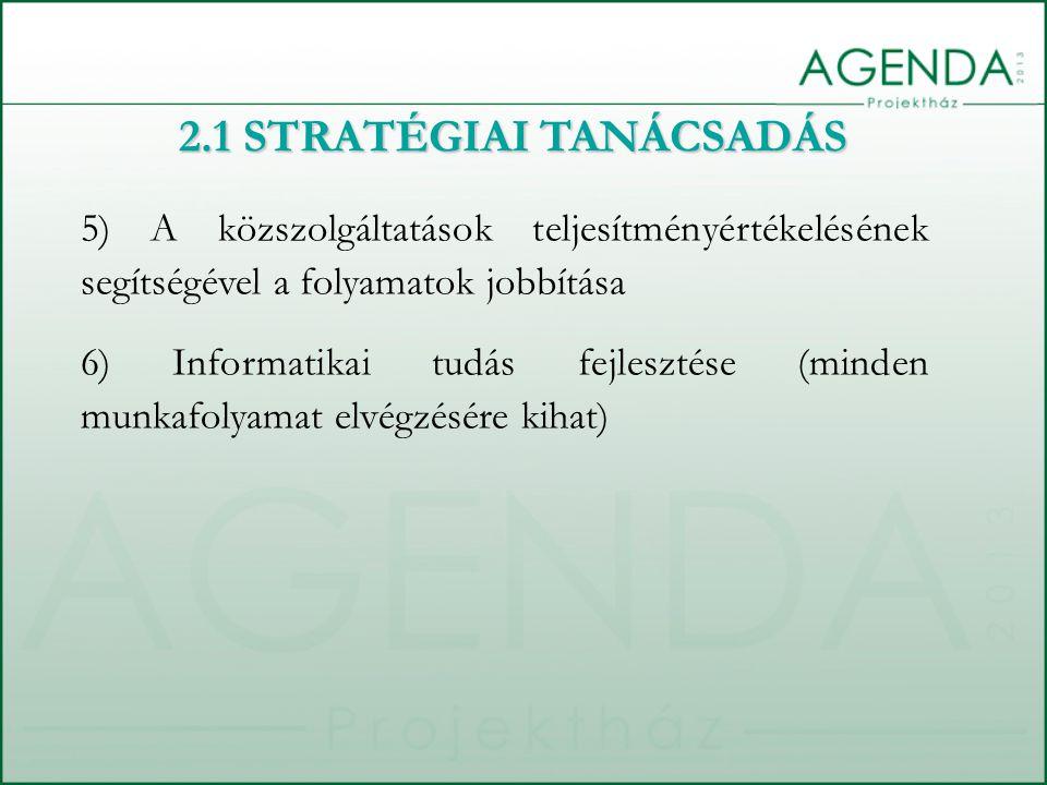 2.1 STRATÉGIAI TANÁCSADÁS 5) A közszolgáltatások teljesítményértékelésének segítségével a folyamatok jobbítása 6) Informatikai tudás fejlesztése (minden munkafolyamat elvégzésére kihat)